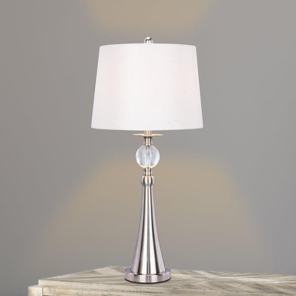 1525 30.75 inch Crystal & Brushed Steel Metal Table Lamp