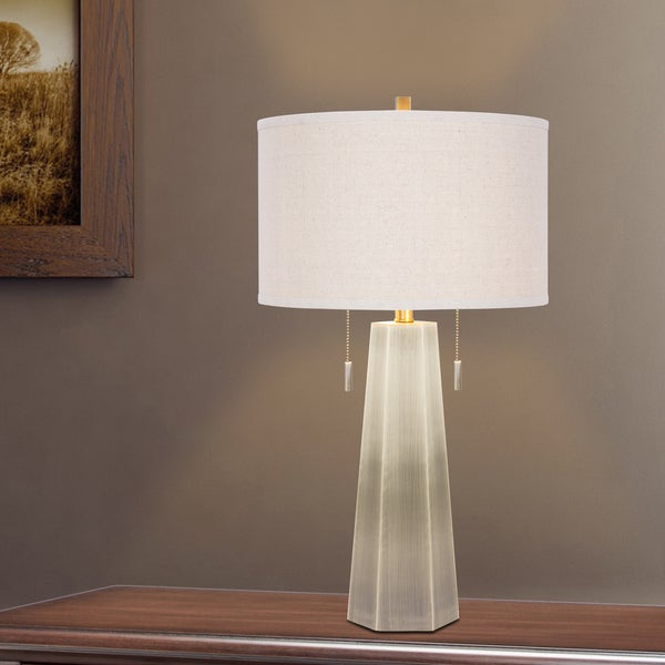 1521AB 30 inch Metal Table Lamp In Antique Brass Finish