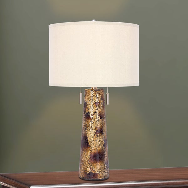 5126 28 inch Twin Light Table Lamp in Amber Mosaic