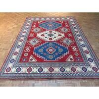 Oriental Red Wool Kazak Hand-knotted Rug - 7'10 x 10'3