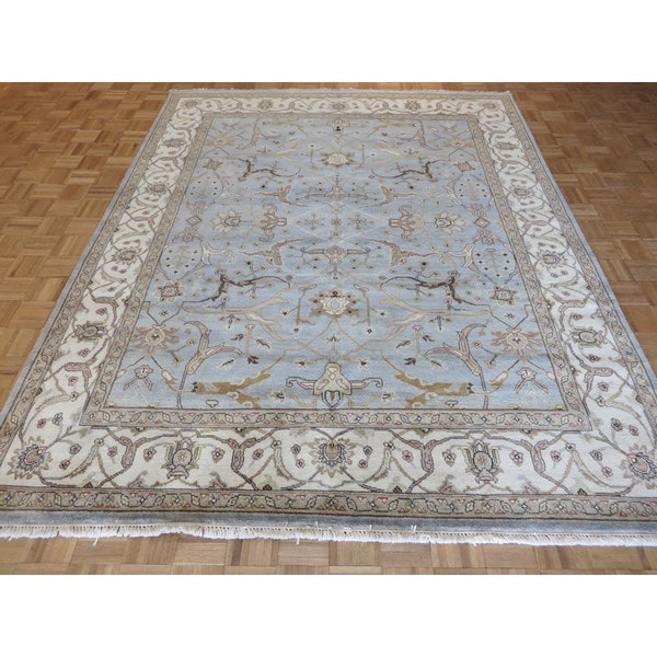 Shop Oushak Peshawar Oriental Sky Blue Wool Hand Knotted