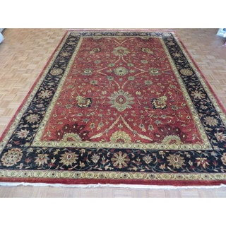 Oriental Oushak Peshawar Red/Multicolor Wool Hand-knotted Rug (9'5 x 13'6)