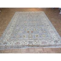 Peshawar Oriental Gray/Blue Wool Hand-knotted Rug - 9'3 x 12'4
