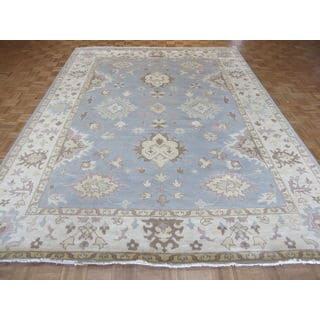 Oushak Light Blue Wool Hand-knotted Oriental Rug (9'2 x 12)