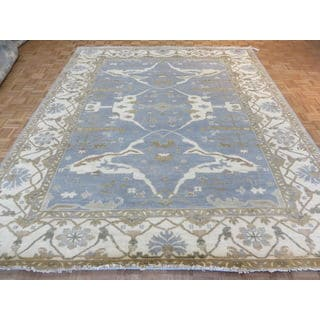 Oushak Sky Blue/Multicolor Wool Hand-knotted Oriental Rug (9'5 x 11'8)