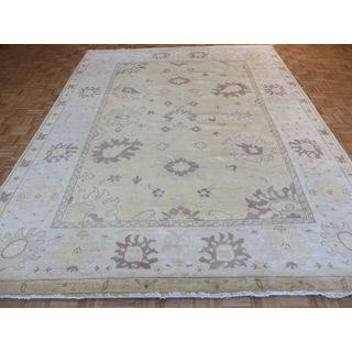 Oriental Soft Gold Wool Oushak Hand-knotted Rug (9'1 x 11'11)