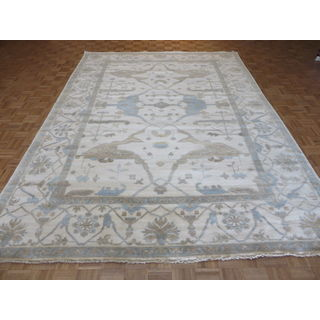 Oriental Ivory Oushak Wool Hand-knotted Rug (9 x 12'5)