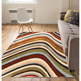 Well Woven Modern Waves Lines Natural Area Rug (5' x 7')