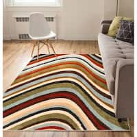 "Well Woven Modern Waves Lines Natural Area Rug - 5'3"" x 7'3"""