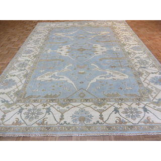 Sky Blue Hand Knotted Wool Oushak Oriental Rug (9'3 x 11'8)