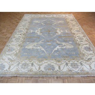 Oriental Sky Blue Wool Oushak Hand-knotted Rug (9'2 x 11'11)