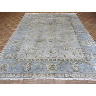 Oushak Oriental Beige Wool Hand-knotted Area Rug (9'2 x 11'8)