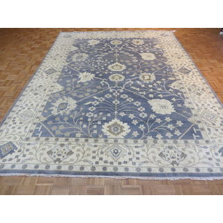 Oushak Denim Blue/Multicolor Wool Hand-knotted Oriental Rug (9'2 x 11'11)
