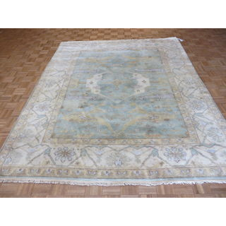 Oushak Oriental Ivory/Blue/Tan/Brown Wool Hand-knotted Rug (8'2 x 9'8)