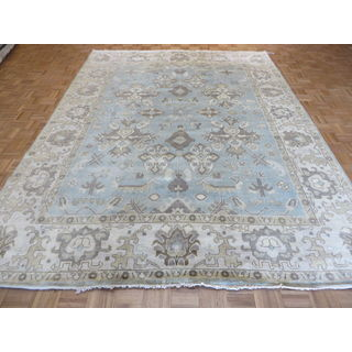 Oriental Light Blue Oushak Wool Hand-knotted Rug (8'10 x 11'10)