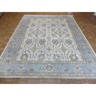 Oriental Oushak Ivory Wool Hand-knotted Rug (9'2 x 11'11)