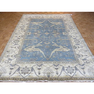 Oriental Blue Wool Oushak Hand-knotted Rug (9'1 x 11'10)