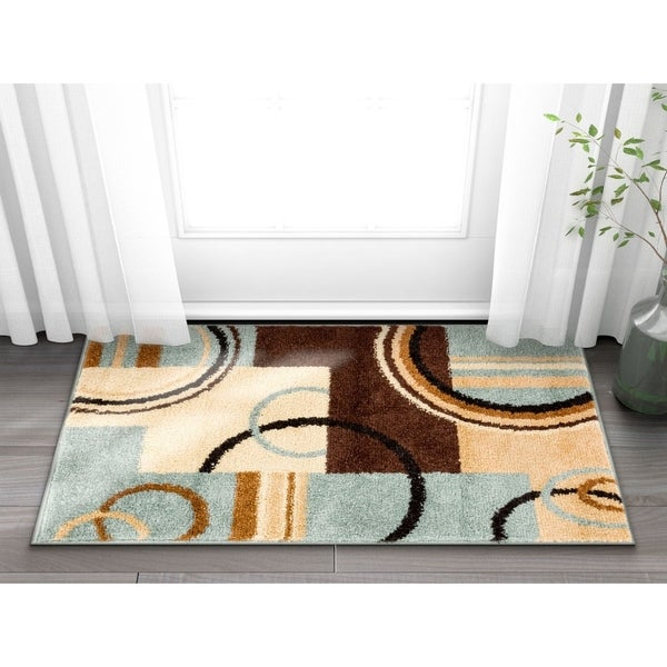 Well Woven Geometric Shapes Squares Modern Blue Mat Accent Rug - 2'3 x 3'11