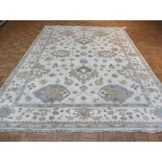 Oushak Oriental Ivory Wool Hand-knotted Area Rug (9'2 x 12'3)