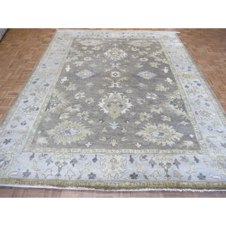 Oushak Grey/Multicolor Wool Hand-knotted Oriental Rug (9'3 x 11'11)
