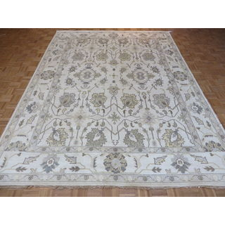 Oriental Ivory/Blue/Sage/Gold Wool Oushak Hand-knotted Rug (9 x 11'11)