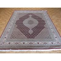 Hand-knotted Oriental Mahi Tabriz Red Wool and Silk Rug - 8'4 x 10