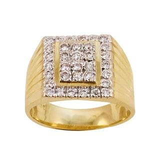 Regalia 14k White or Yellow Gold Men's 1/2ct TDW Diamond Pave Ring, Size 10