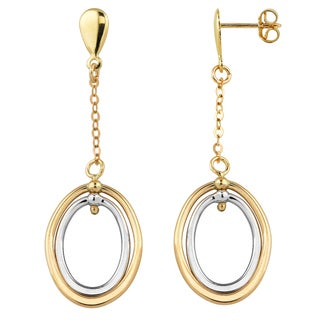 Fremada Italian 14k Two-tone Gold High Polish Double Oval Drop Earrings