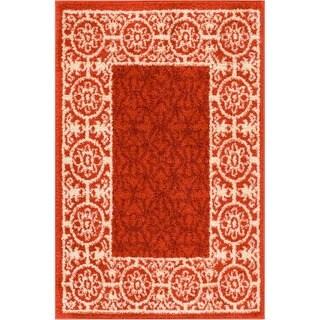 Well Woven Modern Border Geometric Tile Red Area Rug (2'3 x 3'11)