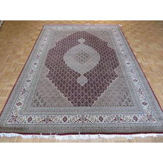 Oriental Mahi Tabriz Red Wool/Silk Hand-knotted Rug (8'3 x 11'8)