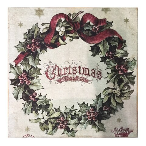 Multicolor Polyester/Cotton Vintage Christmas Square Rug - 2' x 2'