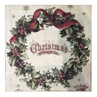 Multicolor Polyester/Cotton Vintage Christmas Square Rug (2' x 2') - 2' x 2'