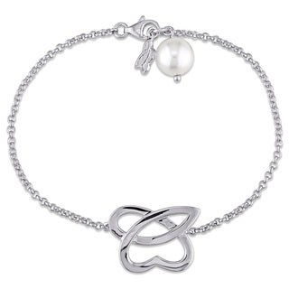 Miadora 9-9.5 mm Cultured Freshwater White Pearl Abstract Charm Bracelet in Sterling Silver