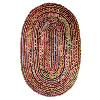 Celebration Multicolored Handwoven Jute Chindi Braid Oval Rug (5'x 8')