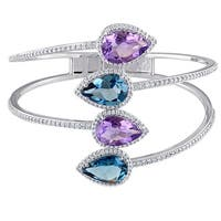 Miadora Signature Collection Blue Topaz-London Amethyst and 1-1/2ct TDW Diamond Bypass Bangle in Sterling Silver (G-H, SI1-SI2)