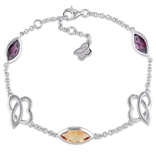 Miadora Marquise-Cut Citrine and Rhodolite Station Bracelet in Sterling Silver