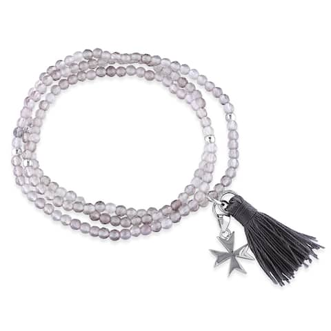 Miadora Grey Agate Grey Tassel and Cross Charm Bead Bracelet in Sterling Silver