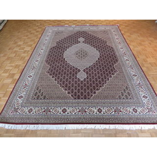 Oriental Red Mahi Tabriz with Wool and Silk Hand-knotted Rug (8'4 x 11'8)