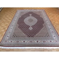 Oriental Red Mahi Tabriz with Wool and Silk Hand-knotted Rug - 8'4 x 11'8