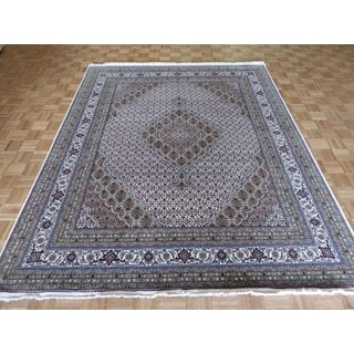 Oriental Mahi Tabriz Ivory Wool/Silk Hand-knotted Rug (7'11 x 9'10)