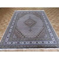Oriental Mahi Tabriz Ivory Wool/Silk Hand-knotted Rug - 7'11 x 9'10