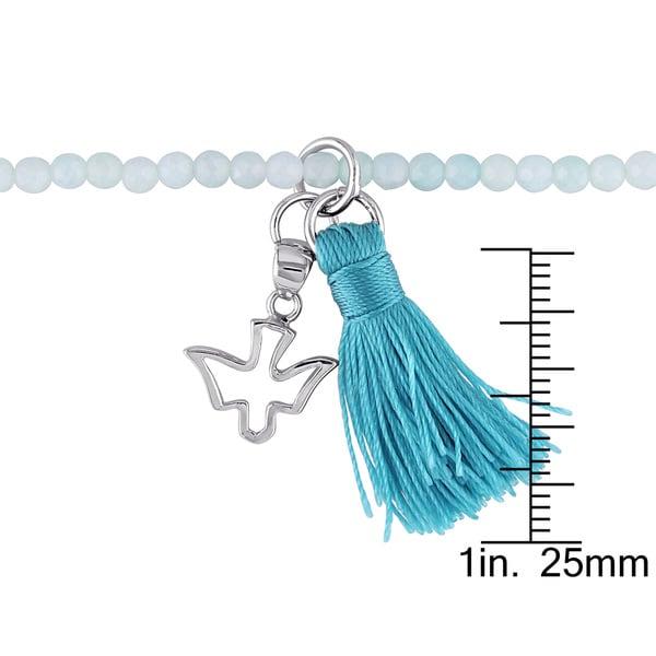 Miadora Amazonite Green Tassel and Dove Charm Bead Bracelet in Sterling Silver - Blue