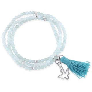 Miadora Amazonite Green Tassel and Dove Charm Bead Bracelet in Sterling Silver