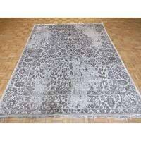 Tabriz Grey/Silver Silk-blend Hand-knotted Oriental Rug - 7'11 x 10'4