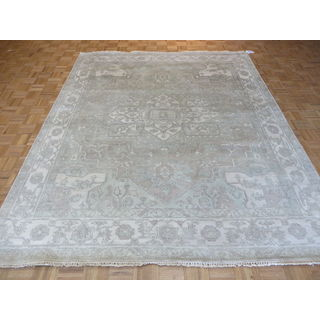 Oushak Oriental Beige Wool Hand-knotted Area Rug (8'1 x 9'9)
