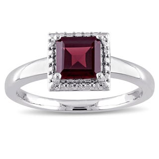 Miadora Square-Cut Garnet Halo Solitaire Engagement Ring in Sterling Silver
