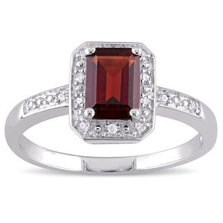Miadora Emerald-Cut Garnet and Diamond Accent Halo Engagement Ring in Sterling Silver