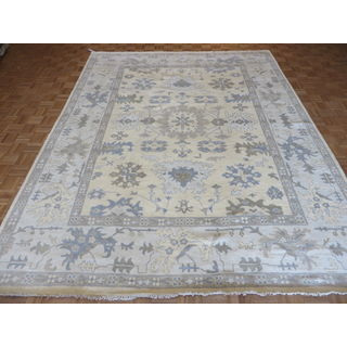 Oushak Gold Wool Hand-knotted Oriental Rug (9'1 x 11'10)