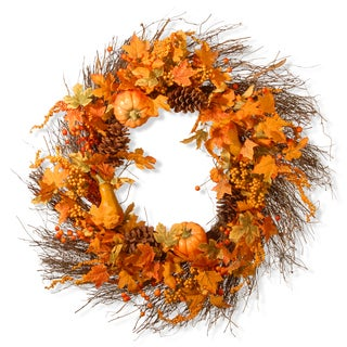 Fabric 28-inch Pumpkin Wreath