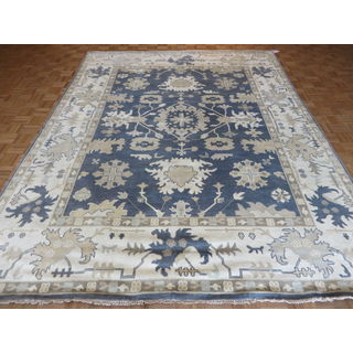 Oushak Oriental Denim Blue Wool Hand-knotted Area Rug (9 x 11'9)